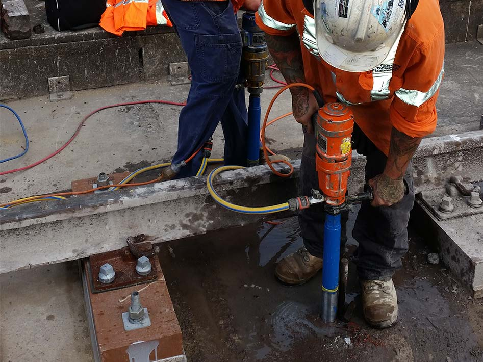 concrete core drilling in action